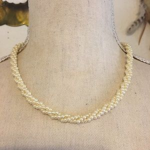 Vintage twisted triple strand faux pearl necklace